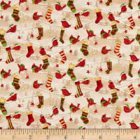 Seasons Greetings Cardinals And Stockings Metallic Cream/Multi