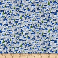 Seasons Greetings Holiday Village  Metallic White/Navy