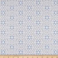 Blue Holidays Hanukkah Stars  Silver Metallic White/Multi