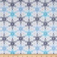 Blue Holidays Star Motifs  Silver Metallic White/Multi