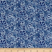 Blue Holidays Abstract Swirls  Silver Metallic Navy/Multi