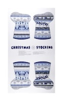 "Blue Holidays Stocking 24""Panel  Silver Metallic Blue/Grey"