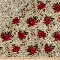Double Face Quilted Holiday Editions Floral Diamond Quilted Metallic Fog/Multi