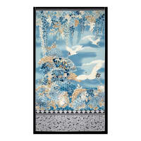 "Kaufman Imperial Collection 24"" Panel Cranes Metallic Indigo"