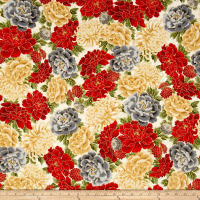 Kaufman Imperial Collection Ivory Flowers Metallic Ivory