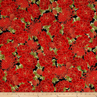 Kaufman Imperial Collection Crimson Flowers Crimson Metallic