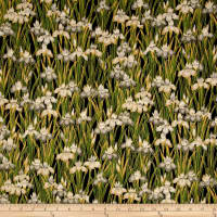 Kaufman Imperial Collection Flowers Metallic Black