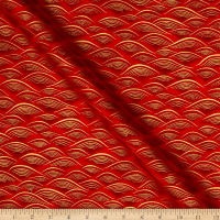 Kaufman Imperial Collection Waves Metallic Crimson