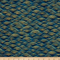 Kaufman Imperial Collection Waves Metallic Teal