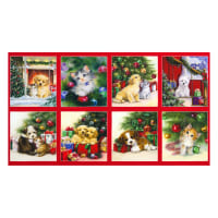 "Kaufman Christmas Pets Kittens Puppies 24"" Panel Holiday"