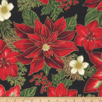 Kaufman Holiday Flourish 11 Pointsettias Flowers Metallic Black
