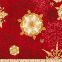Kaufman Holiday Flourish 11 Snowflakes Metallic Red