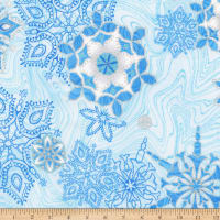 Kaufman Holiday Flourish 11 Snowflakes Metallic Blue