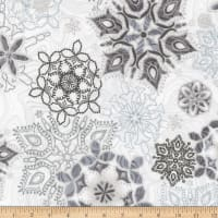 Kaufman Holiday Flourish 11 Snowflakes Metallic Frost