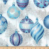 Kaufman Holiday Flourish 11 Ornaments Metallic Peacock