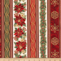 Kaufman Holiday Flourish 11 Garland Stripes Metallic Holiday
