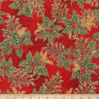Kaufman Holiday Flourish 11 Pine Boughs Metallic Crimson