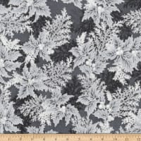 Kaufman Holiday Flourish 11 Pine Boughs Metallic Ebony
