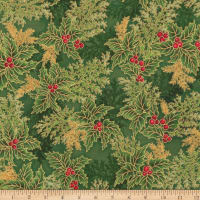 Kaufman Holiday Flourish 11 Pine Boughs Metallic Holly