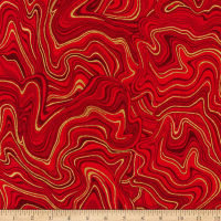 Kaufman Holiday Flourish 11 Marble Metallic Crimson