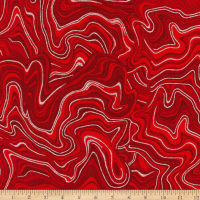 Kaufman Holiday Flourish 11 Marble Metallic Scarlet