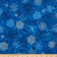 Kaufman Holiday Flourish 11 Snowflakes Metallic Royal