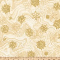 Kaufman Holiday Flourish 11 Snowflakes Metallic Ivory