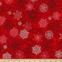 Kaufman Holiday Flourish 11 Snowflakes Metallic Scarlet