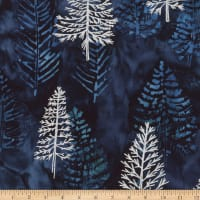 Kaufman Northwoods Batik Trees Metallic Winter