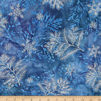 Kaufman Northwoods Batik Branches Metallic Winter