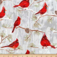 Kaufman Winter White 3 Cardinal Birds Branches Metallic Ice