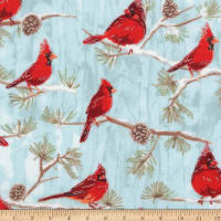 Kaufman Winter White 3 Cardinal Birds Branches Metallic Winter