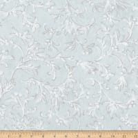 Kaufman Winter White 3 Branches Metallic Sky