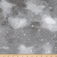 Kaufman Winter White 3 Stars Blender Metallic Starry Night