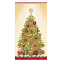 "Kaufman Winter's Grandeur Christmas Tree 24"" Panel Metallic Holiday"