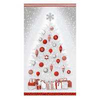 "Kaufman Winter's Grandeur Christmas Tree 24"" Panel Metallic Winter"