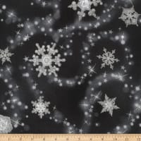 Kaufman Winter's Grandeur Snowflakes Metallic Ebony