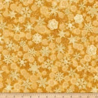 Kaufman Winter's Grandeur Snowflakes Metallic Gold