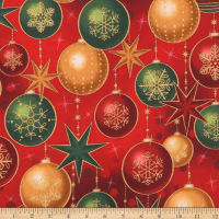 Kaufman Winter's Grandeur Ornaments Metallic Red