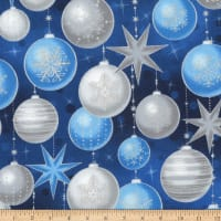 Kaufman Winter's Grandeur Ornaments Metallic Evening