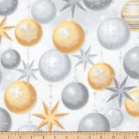 Kaufman Winter's Grandeur Ornaments Metallic Champagne