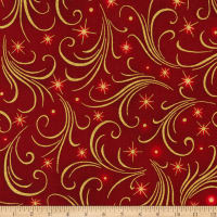 Kaufman Winter's Grandeur Swirls Metallic Crimson