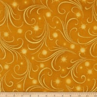 Kaufman Winter's Grandeur Swirls Metallic Gold
