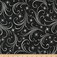 Kaufman Winter's Grandeur Swirls Metallic Ebony