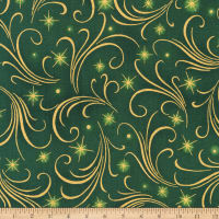 Kaufman Winter's Grandeur Swirls Metallic Evergreen
