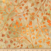 Kaufman Cornucopia Branches Leaves Batik Pumpkin
