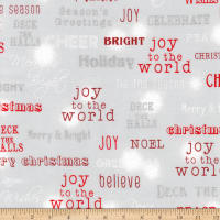 Kaufman Winter's Grandeur Words Metallic Winter