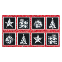 "Kaufman Winter's Grandeur Ornaments 24"" Panel Metallic Winter"