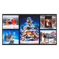 "Kaufman Woodland Glow Christmas Tree Animals 24"" Panel Digital Holiday"