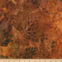Kaufman Cornucopia Fall Maple Leaves Batik Redwood